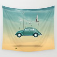cars Wall Tapestries featuring cars  by mark ashkenazi