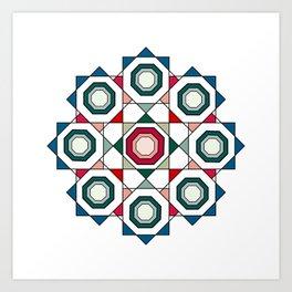 Tile mandala Art Print