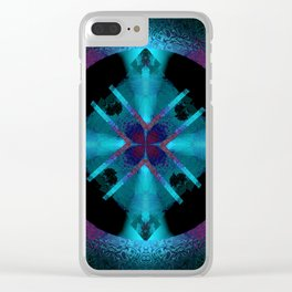 Spinning Wheel Hubcap in Aqua Clear iPhone Case