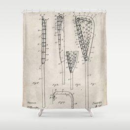 Lacrosse Stick Patent - Lacrosse Player Art - Antique Shower Curtain