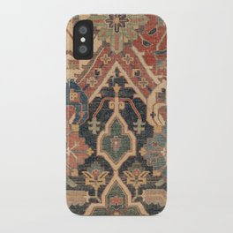 Geometric Leaves I // 18th Century Distressed Red Blue Green Colorful Ornate Accent Rug Pattern iPhone Case