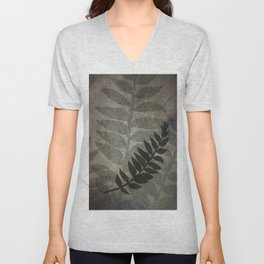 Pantone Hazelnut Abstract Grunge with Fern Leaf - Foliage Silhouettes Unisex V-Neck
