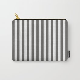 Pantone Pewter Gray & White Stripes, Wide Vertical Line Pattern Carry-All Pouch