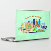 cities Laptop & iPad Skins featuring Twin Cities by Jane Gardner