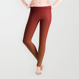 Red and Orange-Brown Gradient Ombre Blend 2021 Color of the Year Satin Paprika & Satin Warm Caramel Leggings