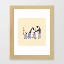 Emperor Penguin Family in the summer of Japan Framed Art Print