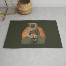 meditating pug - green Rug