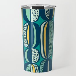 Blue Cactus Garden // mid century modern pattern Travel Mug