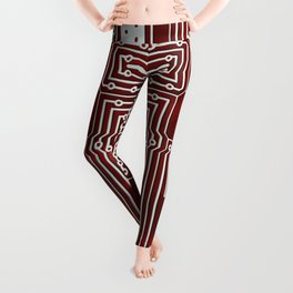 Red Geek Motherboard Circuit Pattern Leggings
