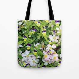 Cute Pansies and Pink and White Flowers Tote Bag