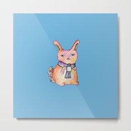 Bunny in Scarf with Mug Metal Print