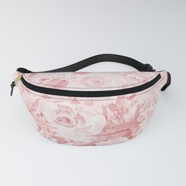 Modern rustic blush pink white watercolor floral Fanny Pack