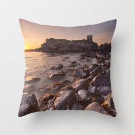 Sunrise at Kinbane Castle in Northern Ireland Throw Pillow