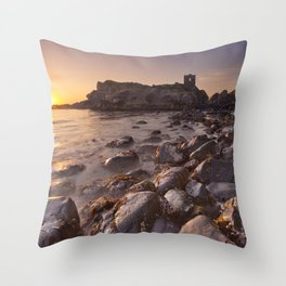 Sunrise at Kinbane Castle in Northern Ireland Throw Pillow