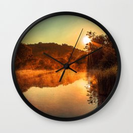 Sunrise at the lake/Sonnenaufgang am See Wall Clock