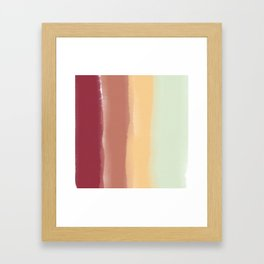Fall Colored Watercolor Stripes Framed Art Print