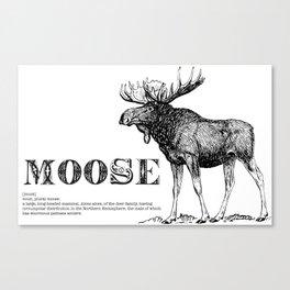 Moose Vintage mock-dictionay print Canvas Print