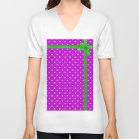 bow V-neck T-shirts featuring Green bow by I AmErika