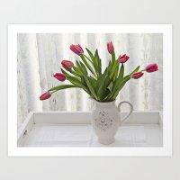 Bejewelled tulips Art Print
