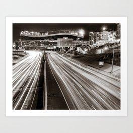 Denver Mile High Football Stadium and Cityscape in Sepia Art Print