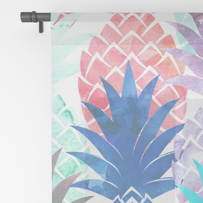 Hawaiian Pineapple Pattern Tropical Watercolor Sheer Curtain