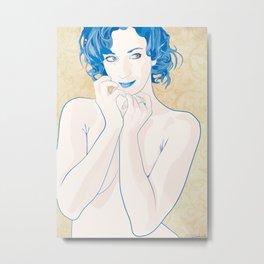 Curious in blue Metal Print