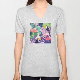 Tropical Jungle With Flamingos And Toucans Memphis Style Unisex V-Neck