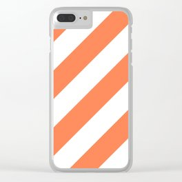 Coral diagonal striped pattern Clear iPhone Case
