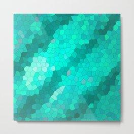 Colored green geometric mosaic streaks Metal Print