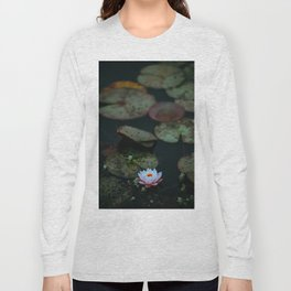 Dark Sensual Lily Pad Pond White Lotus Flower Long Sleeve T-shirt