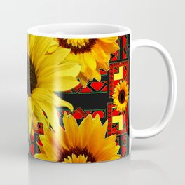 SOUTHWESTERN  BLACK COLOR YELLOW SUNFLOWERS ART Coffee Mug