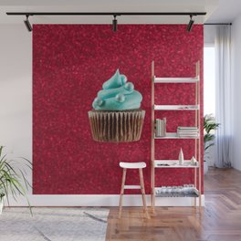 Cupcake Love | Aqua Swirl on Red Sparkle Wall Mural