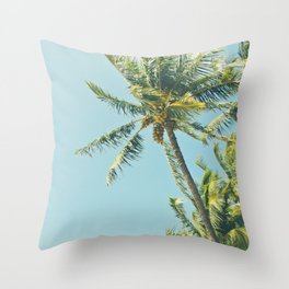 Kenolio Beach Hawaiian Coconut Palm Trees Kīhei Maui Hawaii Throw Pillow