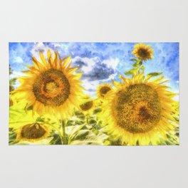 Summer Day Sunflowers Art Rug