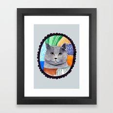 KITTY / GREY Framed Art Print