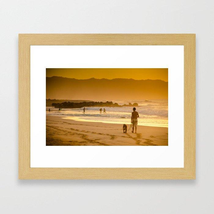 Hawaiian Beach Sunset Framed Art Print
