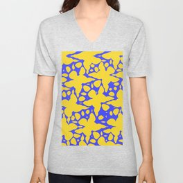 Asymmetry collection: abstract flowers in the water Unisex V-Neck