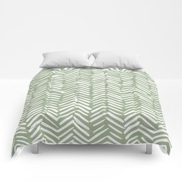Boho Herringbone Pattern, Sage Green and White Comforters