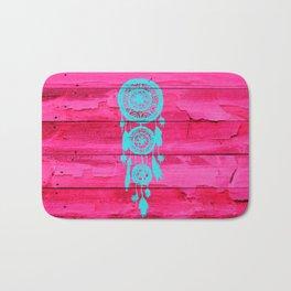 Hipster Teal Dreamcatcher Girly Pink Fuchsia Wood  Bath Mat