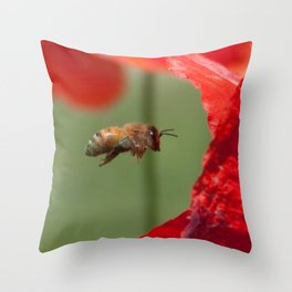 The Levitating Bee Throw Pillow