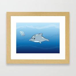 The dolphin is getting angry... Framed Art Print