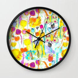 Childhood Butterfly's in a Spring Garden Wall Clock
