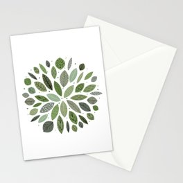 Mid-Century Green Leaves Stationery Cards