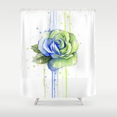 Flower Rose Watercolor Painting 12th Man Art Shower Curtain
