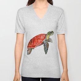 Sea Turtle red green turtle design, trutle illustration Unisex V-Neck