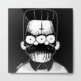 Black Metal Religious Guy Metal Print