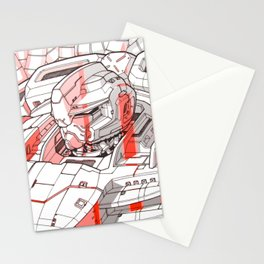 Red Mecha Stationery Cards
