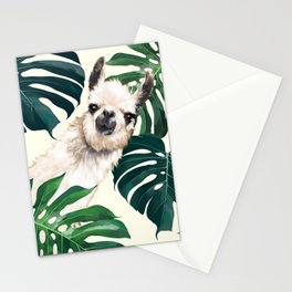 Sneaky Llama with Monstera Stationery Cards