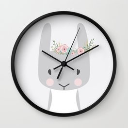 Bunny portait, floral Wall Clock