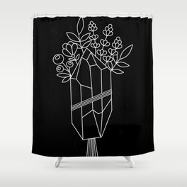 Crystal Flower Bouquet Black Shower Curtain